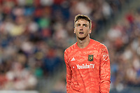 FOXBOROUGH, MA - AUGUST 4: Tyler Miller #1 of Los Angeles FC during a game between Los Angeles FC and New England Revolution at Gillette Stadium on August 3, 2019 in Foxborough, Massachusetts.