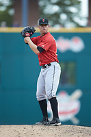 Indianapolis Indians relief pitcher Damien Magnifico (44) looks to his catcher for the sign against the Columbus Clippers at Huntington Park on June 17, 2018 in Columbus, Ohio. The Indians defeated the Clippers 6-3.  (Brian Westerholt/Four Seam Images)