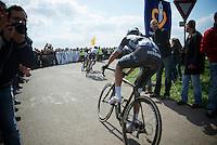 Niki Terpstra (NLD/OPQS) just turning out of Carrefour de l'Arbre behind John Degenkolb (DEU/Giant-Shimano) & Geraint Thomas (GBR/SKY)<br /> <br /> Paris-Roubaix 2014