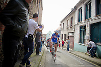 Frederik Veuchelen (BEL/Wanty-GroupeGobert) leading the breakaway group up the Casselberg for a 2nd time<br /> <br /> Gent-Wevelgem 2014