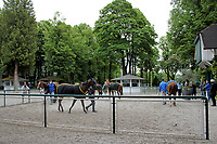 15th May 2020, Muenchen-Riem racecourse, Munich, Germany. Flat racing;  No spectators at the parade ring in times of the corona pandemic