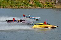"Rick Beatty's S-32 ""Bad Habit"" (1976 2.5 Litre Stock class Staudaucher S-bottom hydroplane), F-23 Wha Hoppen III(1966 Schroeder 266 Class hydroplane), H-202 ""Heavy Duty"" (1964 Lauterbach 7 Litre/Grand Prix hydroplane) take a lap in his honor."
