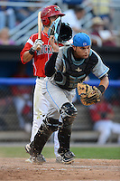 Hudson Valley Renegades catcher Oscar Hernandez (28) chases down a blocked ball during a game against the Batavia Muckdogs on August 6, 2013 at Dwyer Stadium in Batavia, New York.  Batavia defeated Hudson Valley 4-3.  (Mike Janes/Four Seam Images)