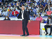 13th October 2021; Wizink Center; Madrid, Spain; Turkish Airlines Euroleague Basketball; game 3; Real Madrid versus AS Monaco; Pablo Laso coach for Real Madrid Baloncesto in action during the match