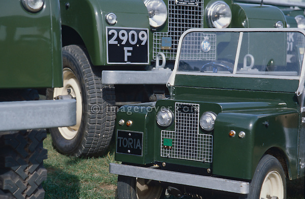 Driveable toy Land Rover Toria on display at a Land Rover show within it's original relatives. NO RELEASES AVAILABLE. Automotive trademarks are the property of the trademark holder, authorization may be needed for some uses.