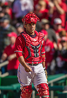 6 April 2014: Washington Nationals catcher Sandy Leon in action against the Atlanta Braves at Nationals Park in Washington, DC. The Nationals defeated the Braves 2-1 to salvage the last game of their 3-game series. Mandatory Credit: Ed Wolfstein Photo *** RAW (NEF) Image File Available ***
