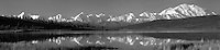 A panoramic view of Mt. McKinley and the Alaska Range is mirror reflected in Wonder Lake, Denali National Park, Alaska.  This high resolution panoramic photogragh can be printed to 5 feet wide without any enlargement.