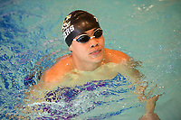 Bentonville's Caleb Tong returns to the side of the pool Saturday, Feb. 13, 2021, after winning the 50-yard freestyle during the Class 6A-West Conference Swim Championships at the Jones Center in Springdale. Visit nwaonline.com/210214Daily/ for today's photo gallery. <br /> (NWA Democrat-Gazette/Andy Shupe)