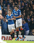 Lewis Macleod celebrates his goal for Rangers with team mate Darren McGregor