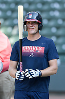 Right fielder Greyson Jenista (23) of the Rome Braves takes batting practice before a game against the Greenville Drive on Wednesday, July 11, 2018, at Fluor Field at the West End in Greenville, South Carolina. He is the Atlanta Braves' 2018 second-round draft pick. (Tom Priddy/Four Seam Images)