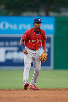 State College Spikes shortstop Moises Castillo (29) during a NY-Penn League game against the Batavia Muckdogs on July 2, 2019 at Dwyer Stadium in Batavia, New York.  Batavia defeated State College 1-0.  (Mike Janes/Four Seam Images)