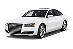 2015 Audi A8 4.0T NWB quattro Tiptronic 5 Door Sedan angular front stock photos of front three quarter view