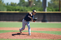 Milwaukee Brewers relief pitcher Lun Zhao (85) delivers a pitch during an Instructional League game against the San Diego Padres at Peoria Sports Complex on September 21, 2018 in Peoria, Arizona. (Zachary Lucy/Four Seam Images)