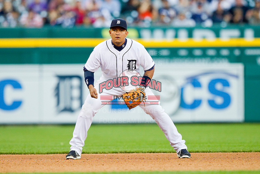 Detroit Tigers third baseman Miguel Cabrera (24) on defense against the Tampa Bay Rays at Comerica Park on June 4, 2013 in Detroit, Michigan.  The Tigers defeated the Rays 10-1.  Brian Westerholt/Four Seam Images