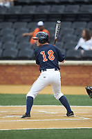 Justin Novak (18) of the Virginia Cavaliers at bat against the Wake Forest Demon Deacons at David F. Couch Ballpark on May 19, 2018 in  Winston-Salem, North Carolina. The Demon Deacons defeated the Cavaliers 18-12. (Brian Westerholt/Four Seam Images)