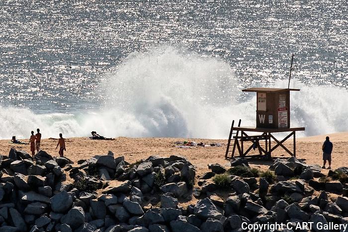 Waves at the Wedge, Balboa Peninsula photographed from Corona del Mar, CA.