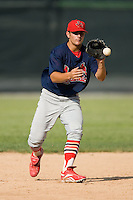 Johnson City shortstop Pete Kozma (27) takes some ground balls during batting practice at Hunnicutt Field in Princeton, WV, Friday, August 10, 2007.
