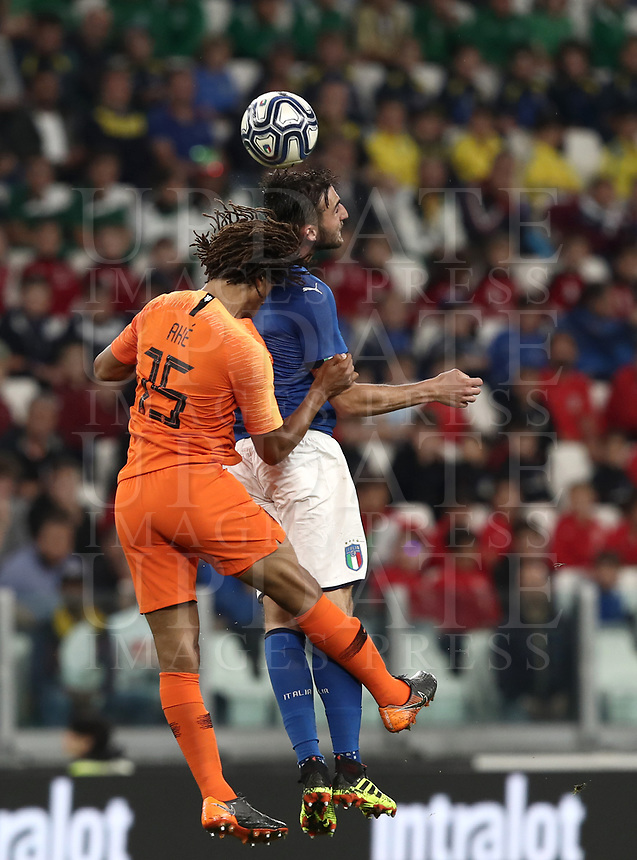International friendly football match Italy vs The Netherlands, Allianz Stadium, Turin, Italy, June 4, 2018. <br /> Italy's Bryan Cristante (r) in action with Netherlands Nathan Aké (l) during the international friendly football match between Italy and The Netherlands at the Allianz Stadium in Turin on June 4, 2018.<br /> UPDATE IMAGES PRESS/Isabella Bonotto