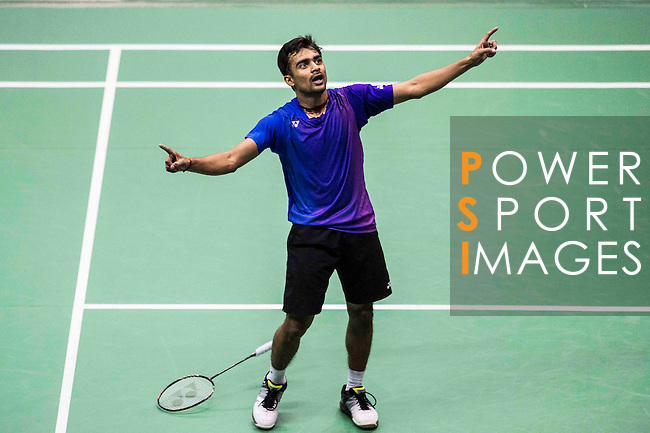 Sameer Verma of India celebrates after defeating Jan O Jorgensen of Denmark during their Men's Singles Semi-Final of YONEX-SUNRISE Hong Kong Open Badminton Championships 2016 at the Hong Kong Coliseum on 26 November 2016 in Hong Kong, China. Photo by Marcio Rodrigo Machado / Power Sport Images