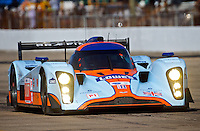 The #007 Aston Martin of Drian Fernadez, Harold Primat, and  Stefan Mucke in action early in the 12 Hours of Sebring, Sebring, FL, MArch 20, 2010.  (Photo by Brian Cleary/www.bcpix.com)