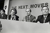 Chancellor of the Exchequor Nigel Lawson, Prime Minister Margaret Thatcher, Norman Tebbit and Paul Channon, Conservative Party pre-election press conference.