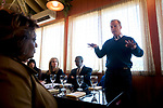 """US House Representative Dwight Evans welcomes philanthropist and activist Tom Steyer to sit down with group of community activist, political candidates and elected officials with the Democratic Party, in Philadelphia, PA, on February 17, 2018. Tom Steyer runs NextGen America, which this weekend hosts thousand of house parties in his 'Impeach Trump"""" campaign."""
