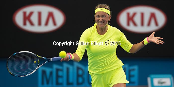 Victoria Azarenka (BLR) defeats Caroline Wozniacki (DEN) 6-4, 6-2 at the Australian Open being played at Melbourne Park in Melbourne, Australia on January 22, 2015