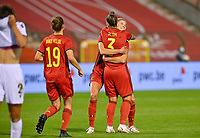 Jassina Blom (3) of Belgium pictured celebrating with teammate Justine Vanhaevermaet (10) of Belgium after scoring a goal during a female soccer game between the national teams of Belgium , called the Red Flames and Albania in the second game in the qualification for the  FIFA Women's World Cup in group F , on tuesday 21 st of September 2021  in Brussels , Belgium . PHOTO SPORTPIX