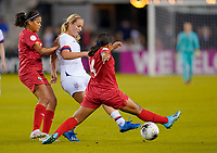 HOUSTON, TX - JANUARY 31: Lindsey Horan #9 of the United States passes off the ball during a game between Panama and USWNT at BBVA Stadium on January 31, 2020 in Houston, Texas.