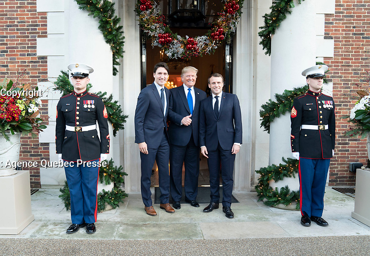 President Trump Meets with President Macron and Prime Minister Trudeau<br /> <br /> President Donald J. Trump meets with President Emmanuel Macron of France and Canadian Prime Minister Justin Trudeau in between separate meetings with each leader Tuesday, Dec. 3, 2019, at Winfield House in London. (Official White House Photo by Shealah Craighead)