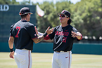 STANFORD, CA - MAY 29: Brock Jones, Alberto Rios before a game between Oregon State University and Stanford Baseball at Sunken Diamond on May 29, 2021 in Stanford, California.