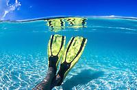 Snorkel fins and reflection<br /> Clear Caribbean water<br /> St. John<br /> U.S. Virgin Islands