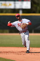 Ball State Cardinals infielder Elbert Devarie (31) during practice before a game against the Dartmouth Big Green on March 7, 2015 at North Charlotte Regional Park in Port Charlotte, Florida.  Ball State defeated Dartmouth 7-4.  (Mike Janes/Four Seam Images)