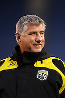 Columbus Crew head coach Sigi Schmid. The New York Red Bulls defeated the Columbus Crew 2-0 during a Major League Soccer match at Giants Stadium in East Rutherford, NJ, on April 5, 2008.
