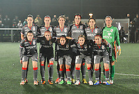20131017 - GLASGOW , SCOTLAND : team Standard pictured with Faustine Cartegnie , Julie Biesmans , Aline Zeler , Cecile De Gernier , Maud Coutereels , goalkeeper Sabrina Broos , Sanne Schoenmakers , Tessa Wullaert , Vanity Lewerissa , Julie Gregoire and Audrey Demoustier during the female soccer match between GLASGOW City Ladies FC and STANDARD Femina de Liege , in the 1/16 final ( round of 32 ) second leg in the UEFA Women's Champions League 2013 in Petershill Park in Glasgow. First leg ended in a 2-2 draw . Thursday 17 October 2013. PHOTO DAVID CATRY
