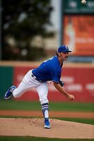 Rancho Cucamonga Quakes starting pitcher Tony Gonsolin (16) follows through on his delivery during a California League game against the Lake Elsinore Storm at LoanMart Field on May 20, 2018 in Rancho Cucamonga, California. Rancho Cucamonga defeated Lake Elsinore 6-2. (Zachary Lucy/Four Seam Images)