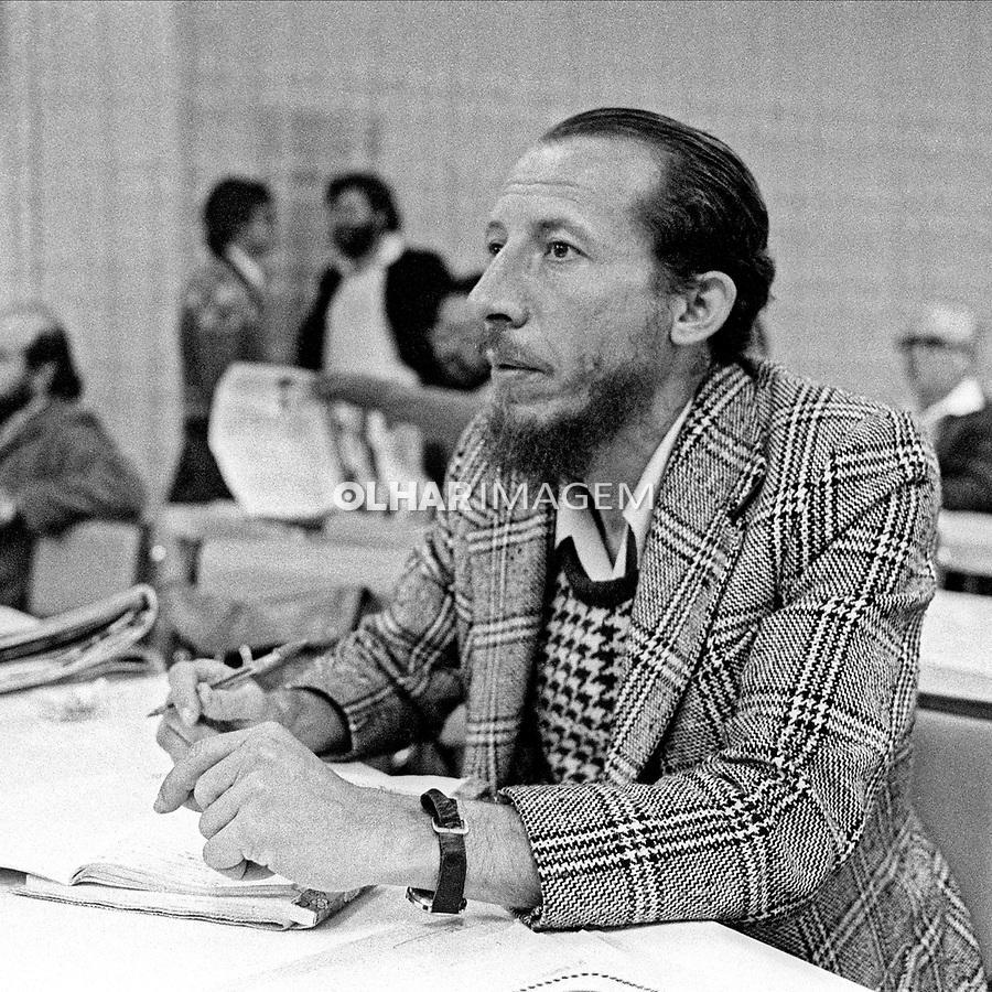 Jornalista Raimundo Rodrigues Pereira. Encontro de Oposiçoes ou Encontro de Sao bernardo. Sao Bernardo do Campo. Sao Paulo. 1979. Foto de Juca Martins.