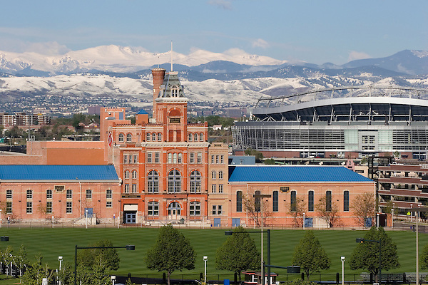 Tivoli Building and Bronco Stadium, Denver, Colorado, Private photo tours of Denver. John offers private photo tours of Denver, Boulder and Rocky Mountain National Park.
