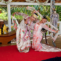 Myanmar, Burma. Bagan.  Couple Performing Traditional Burmese Dance.