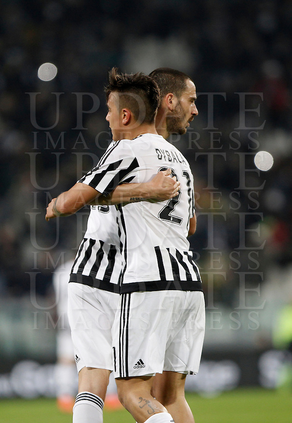 Calcio, Serie A: Juventus vs Sassuolo. Torino, Juventus Stadium, 11 marzo 2016. <br /> Juventus' Paulo Dybala, right, celebrates with teammate Leonardo Bonucci after scoring the winning goal during the Italian Serie A football match between Juventus vs Sassuolo, at Turin's Juventus Stadium, 11 March 2016. Juventus won 1-0.<br /> UPDATE IMAGES PRESS/Isabella Bonotto