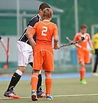 GER - Mannheim, Germany, May 25: During the U16 Boys match between The Netherlands (orange) and Germany (black) during the international witsun tournament on May 25, 2015 at Mannheimer HC in Mannheim, Germany. Final score 3-4 (1-2). (Photo by Dirk Markgraf / www.265-images.com) *** Local caption *** Max Kuijpers #2 of The Netherlands
