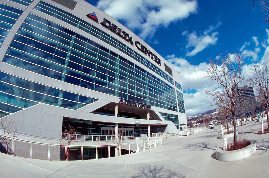 The exterior facade Delta Center, venue for the 2002 Olympic Winter Games. Utah.