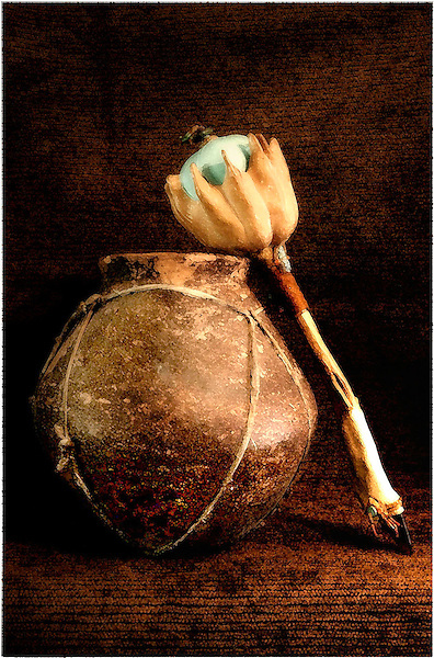 Shaman's Ceremony, Crown Gourd, Rattle and Pot