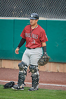 Jesus Atencio (31) of the Idaho Falls Chukars before the game against the Ogden Raptors at Lindquist Field on July 2, 2018 in Ogden, Utah. The Raptors defeated the Chukars 11-7. (Stephen Smith/Four Seam Images)