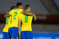 17th November 2020; Centenario Stadium, Montevideo, Uruguay; Fifa World Cup 2022 Qualifying football; Uruguay versus Brazil; Arthur of Brazil celebrates his goal with Danilo in the 34th minute 0-1