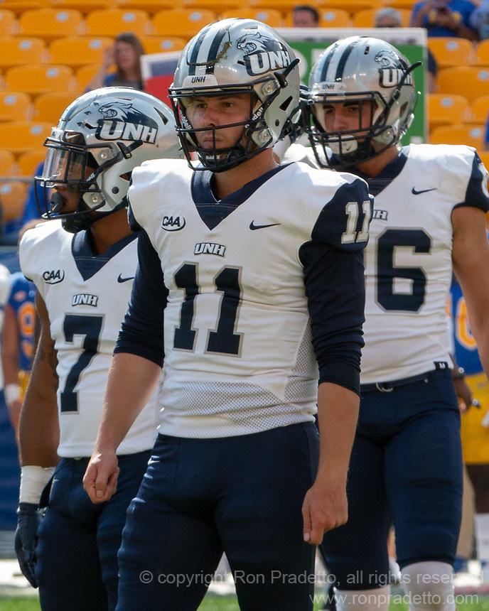 New Hampshire quarterback Tommy Herion. The Pitt Panthers defeated the New Hampshire Wildcats 77-7 at Heinz Field, Pittsburgh, Pennsylvania on September 25, 2021.