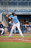 Charlotte Stone Crabs Zach Rutherford (15) bats during a Florida State League game against the Bradenton Maruaders on August 7, 2019 at Charlotte Sports Park in Port Charlotte, Florida.  Charlotte defeated Bradenton 2-0 in the first game of a doubleheader.  (Mike Janes/Four Seam Images)