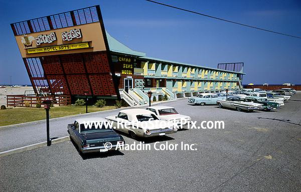 China Seas Motel, Myrtle Beach, South Carolina. Motel exterior with old cars