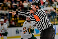 29 December 2018: NCAA Referee Jamie Koharski calls a penalty on RPI after the University of Vermont Catamounts score the game-typing goal with half a second remaining in the second period at Gutterson Fieldhouse in Burlington, Vermont. The Catamounts rallied from a 2-0 deficit to defeat RPI 4-2 and win the annual Catamount Cup Tournament. Mandatory Credit: Ed Wolfstein Photo *** RAW (NEF) Image File Available ***