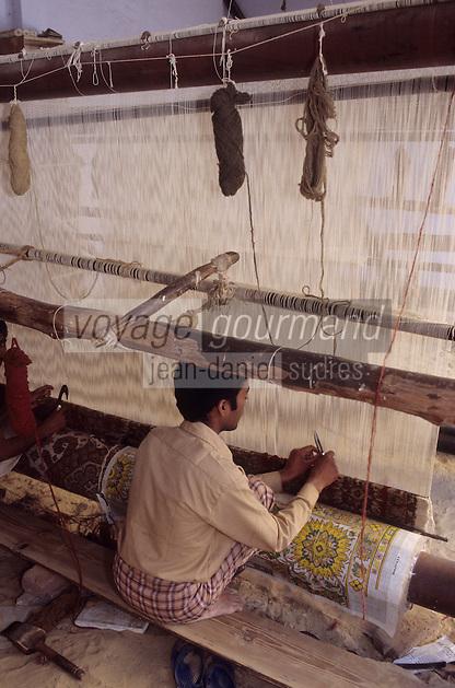 Asie/Inde/Rajasthan/Jaipur: Tissages de Jaipur - Métier à tisser - Fabrication d'un tapis